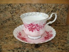 Vintage Royal Albert Tea Cup and Saucer Ceramic & Porcelain Pink Roses England #RoyalAlbert