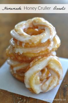 Homemade Honey Cruller Donuts: light, airy, sweet and delicious.  Made from choux pastry, easy and sure to impress.