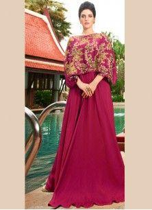 Integral Satin Silk Resham Work Designer Gown
