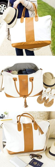 Bridesmaid Gift Idea: Use an oversize weekend bag personalized with each bridesmaid's monogram or initial as wedding attendant gift bags. Add a bottle of wine, novel, scented candle and a large beach towel or soft throw to each bag. Your maid of honor and bridesmaids can use their weekender bag to hit the beach or their favorite quiet place for some rest and relaxation and to pack for weekend trips after your wedding day.