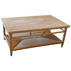 Newport 1980s Coffee Table with Rush Shelf 1