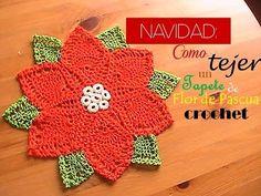 NAVIDAD: como tejer un TAPETE de flor de pascua a CROCHET (diestro) - YouTube