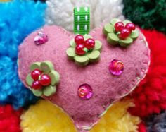 Heart Felt Ornament Roses by GeorgeNRuby on Etsy