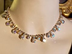 Vintage Retro Aurora Borealis Round Crystal Glass Rhinestone Choker Necklace Wedding Formal STUNNING by SparklesGalorebyDeb on Etsy https://www.etsy.com/listing/546625132/vintage-retro-aurora-borealis-round