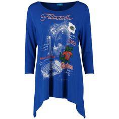 College Florida Gators Women's Campus Print Sharkbite 3/4-Sleeve Tunic - Blue