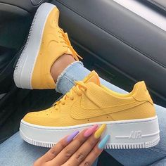 Do you love this fashion shoes? The Neon acrylic nails is prefer for shoes sneakers. Usually, we wear or sneakers, and the colors are not complicated, so it is easy for us to make our nails color to… Yellow Sneakers, Cute Sneakers, Shoes Sneakers, Chunky Sneakers, Sneakers Mode, Yellow Shoes, Tumblr Sneakers, Sneakers Workout, Vans Tennis Shoes