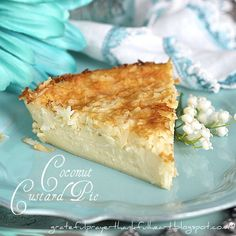 "With a Grateful Prayer and a Thankful Heart: Impossible Coconut Custard Pie. mix all the ingredients together & the crust ""magically"" goes to the bottom during baking! Coconut Desserts, Coconut Recipes, Easy Desserts, Delicious Desserts, Yummy Food, Bisquick Recipes, Pie Recipes, Sweet Recipes, Dessert Recipes"