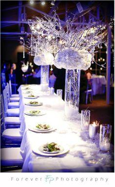 winter wonderland wedding all white centerpieces