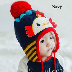 Cartoon duck knitting hat with ear flaps for toddlers winter plush lined hat