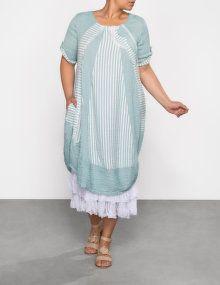 zedd plus Robe structurée avec empiècements à rayures in turquoise / blanc