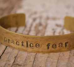 Distressed Brass cuff handstamped with by MYPEACEofJEWELRY on Etsy, $15.00