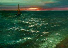 """Emerald Sunset"" oil on canvas, 50x70 cm, Januaryr 2018 Price 800$ #FOR_SALE #Painting #landscape #Art #wiesbaden #Sailboats #evening #sunset #sea http://dmitry-oleyn3.webnode.com/meine-arbeit/"