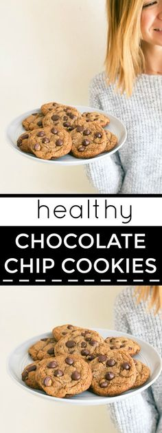 Coconut oil chocolate chip cookies naturally sweetened with coconut sugar and whole wheat flour. Healthy small batch chocolate chip cookies recipe. Recipe makes a half batch of cookies, 8 cookies total.
