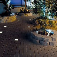Frickin LOVE the block lighting intergrated into the pavers