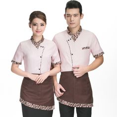 Hotel Waiter And Waitress Uniform Summer Female Fast Food Restaurant Cafe Work Clothes Short Sleeved Shirt Overalls V140