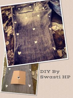 Painted little hearts on an old pair of jeans. DIY By Swasti HP.
