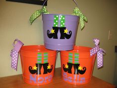 Halloween Bucket Personalized halloween trick or by DeLaDesign, $28.00