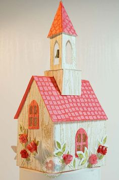 Made with Tim Holtz Village Dwelling Bell Tower Dies. Miniature Houses, Miniature Fairy Gardens, Christmas Home, Christmas Crafts, Putz Houses, Village Houses, Paper Houses, Cardboard Houses, Pottery Houses