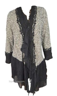 Rayna Victorian Vintage Lace Sweater Cardigan In Black & Gray