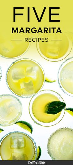 Whether you're feeling a frozen, tropical slushie or a classy cava-topped basil-and-grapefruit number, you're bound to like one of these five margarita recipes.