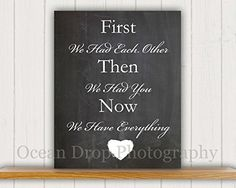 "New Baby Gift, Baby Shower Gift, Nursery Art Print, Baby Chalkboard, Baby Quote, Nursery Decor, 8x10"" Mounted Chalkboard Print, First We Had You... Ocean Drop Photography http://www.amazon.com/dp/B00LIBQQQM/ref=cm_sw_r_pi_dp_eSjHwb0K8M9VA"