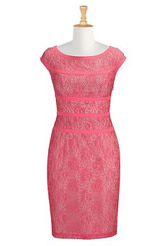 I <3 this calypso coral pink lace Heather dress from eShakti, $90