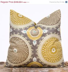 SALE ENDS SOON Taupe Throw Pillow CaseYellow Pillows by LilyPillow