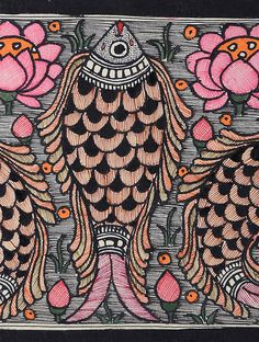 Fish Madhubani Painting - x Ganesha Painting, Madhubani Painting, Kalamkari Painting, Painting Art, Acrylic Painting Techniques, Art Techniques, Traditional Paintings, Traditional Art, Pichwai Paintings