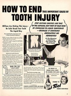 1941 Teel Liquid Dentifrice End Tooth Injury Original Print Ad Large Single Ad - Between 10 x 13 to 11 x 14 inches, suitable for framing.