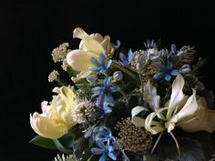 Pale blue, ivory and greens make up this sweet vase arrangement. Parrot tulips, tweedia, white gloriosa lily, riceflower, scabiosa #fleurie  http://.fleurieflower.com