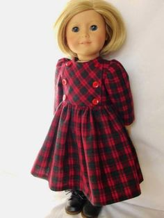 Red Blk Plaid Winter Dress - (45) Dresses - Doll Clothes by Jane Fulton