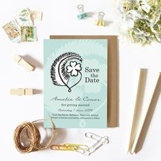 Irish and Kiwi culture is combined with these pretty mint green Save the Dates. The iconic Kiwi fern represents New Zealand and the lucky four-leaved clover represents Ireland. Ireland Wedding, Irish Wedding, Wedding Day, Save The Date Wording, Unique Save The Dates, Wedding Invitation Cards, Mint Green, Custom Design, Dating