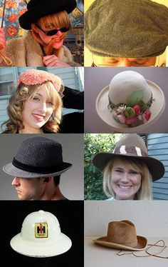 The Mad Hatter, Vintage Easter hats, driving hats, hard hats, wedding hats, miners hat, pith hat, cowboy hats, floppy hats, paper hats, all kinds of hats, all epsteam on etsy! Many thanks to curator Sandra Herzet of TreasuresbyGrammee. Pinned with TreasuryPin.com
