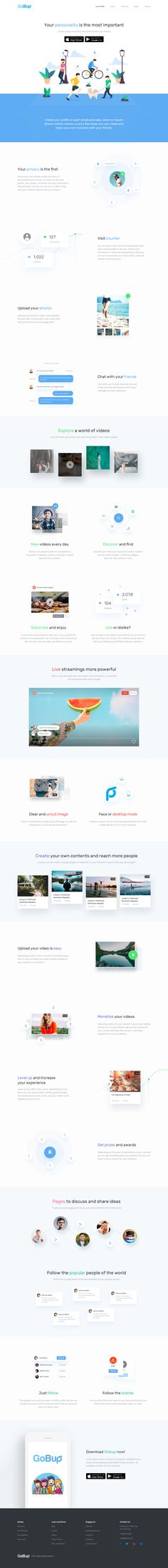 Gobup Red Social Landing Page | #ui #ux #userexperience #website #webdesign #design #minimal #minimalism #art #white #orange #blue #travel #map #ecommerce #fashion