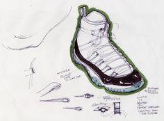 Air Jordan XI concept sketch, 1994