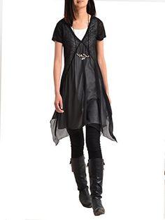 "Idea2lifestyle Women's Zen Layered Tunic Dress ""Transparent Meditation"" Black/White (Large) Idea2lifestyle http://www.amazon.com/dp/B00UUS2MEE/ref=cm_sw_r_pi_dp_fiaswb0FDF41E"
