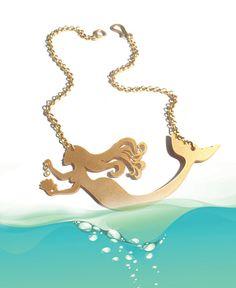 Collier de la sirène, pendentif en acrylique or, collier de déclaration, les tendances de l'été 2015 - livraison gratuite aux Etats-Unis !