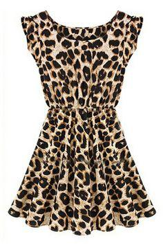 ROMWE   ROMWE Leopard Print Pleated Round Neck Sleeveless Slim Dress, The Latest Street Fashion