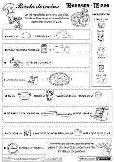 tres estupendas fichas para trabajar distintos contenidos del lenguaje a través de recetas de cocina. ► Hacemos pizza