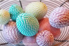 Scrap yarn idea!  Plastic Easter eggs!