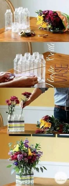 DIY toothbrush holder!!  Instead of vases, chop off top, spray paint different colors, drill holes in the bottom.