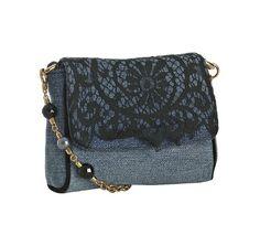 Dolce & Gabbana denim lace beaded shoulder bag