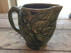 Birds & Berries McCoy Pitcher, Pottery, Vase, Green, Floral