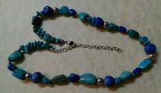 Necklace Turquoise & Blue Lapis Natural Stone STERLING SILVER Chain & Clasp Nice #unknown #StrandString