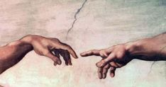 Adam touching the hand of God, Michelangelo, ceiling of the Sistine Chapel Start by copying a simple picture of a hand. Michelangelo Tattoo, Michelangelo Paintings, Hand Pictures, Pictures Of Hands, Touching Hands, Sistine Chapel Ceiling, A Level Art, Aesthetic Drawing, Renaissance Art
