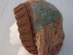 Slouchie Beanie Women's Knit Hat Caramel, Mint Green, Tan, Textured Yarn Winter Fashion. $30.00, via Etsy.