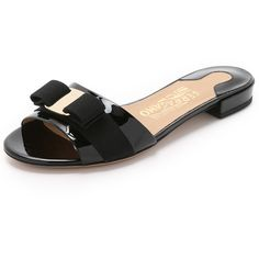 Salvatore Ferragamo Gil Slides (30,320 INR) ❤ liked on Polyvore featuring shoes, sandals, nero, bow shoes, salvatore ferragamo, bow sandals, salvatore ferragamo sandals and low shoes