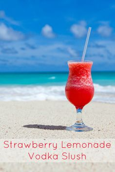 Strawberry Lemonade Vodka Slush Recipe. Sweet, frosty, fruity and with a serious hit of alcohol, this is the perfect summer cocktail! I love making a huge batch at the start of summer and keeping it in the freezer so whenever friends come over, there are always plenty of amazing refreshing cocktails to go round!