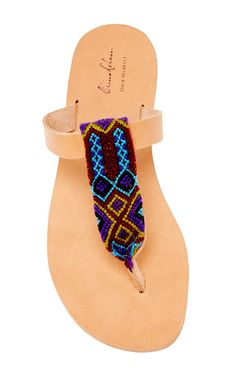 Lydia B Leather & Cotton Sandal In Purple by ELINA LEBESSI for Preorder on Moda Operandi