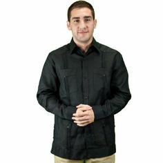 Mens long sleeve guayabera shirt, black.